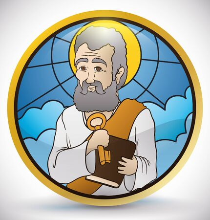 Poster with St. Peter image holding the Heaven's keys and book inside a golden round button with stained glass style.
