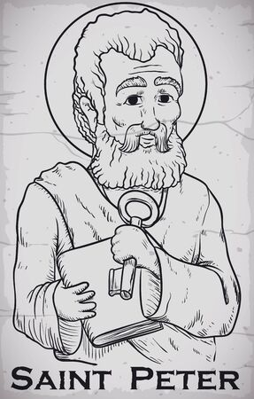 Poster with St. Peter image holding Heaven's key and book in hand drawn style, chiseled in stone.