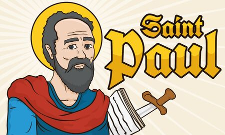 Banner with St. Paul image holding writings in papers, sword and greeting golden text. Illustration