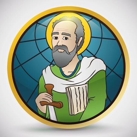 Round button with St. Paul image holding a sword and scriptures in stained glass style.