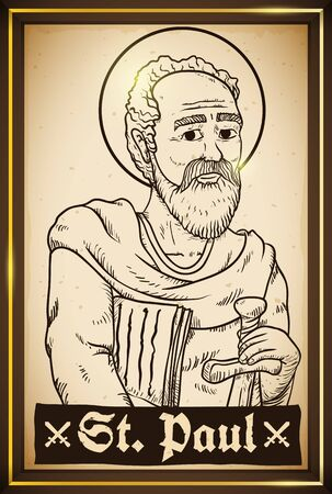 Poster like a portrait frame with St. Paul image holding a sword and writings in hand drawn style.