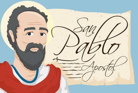 Banner with Saint Paul the Apostle (written in Spanish) image and an ancient scroll with scriptures and stylized sword. Illustration