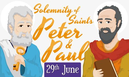 Banner with portraits and reminder date for the Solemnity of Saints Peter and Paul in June 29. 向量圖像