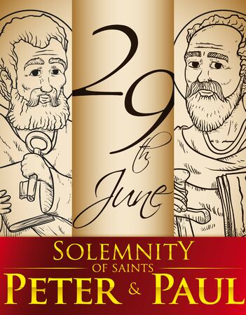 Hand drawn portraits in commemorative poster for the Solemnity of Saints Peter and Paul in June 24. 向量圖像
