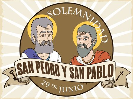 Round label to commemorate Solemnity of Saints Peter and Paul (written in Spanish) with their portraits and greeting label with key and sword silhouettes, in retro style.