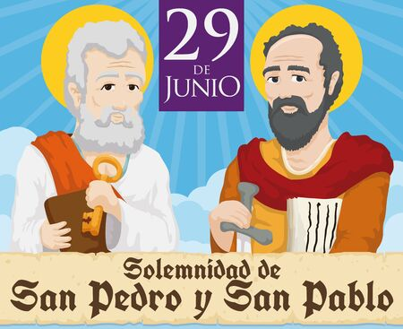 Poster in Spanish with Saints Peter and Paul behind a greeting scroll and reminder date for the Solemnity event in June 29. Illustration