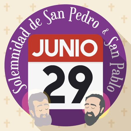 Flat style design with round button, loose-leaf calendar and reminder date for the Solemnity of Saints Peter and Paul in June 29 (written in Spanish).