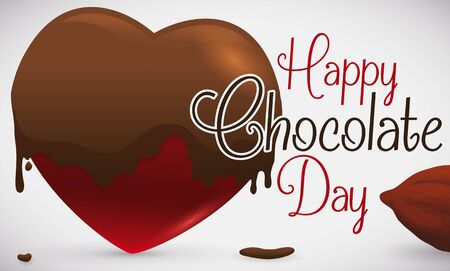 Banner with heart shaped cocoa candy soaked in liquid chocolate next to a cocoa bean ready to celebrate Chocolate Day.