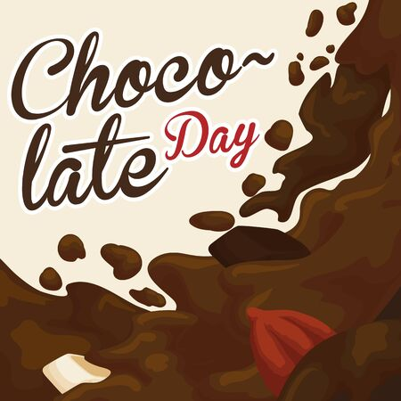 Poster with delicious liquid hot chocolate with a dark and white bars and cocoa bean floating, ready to be served in Chocolate Day. Иллюстрация