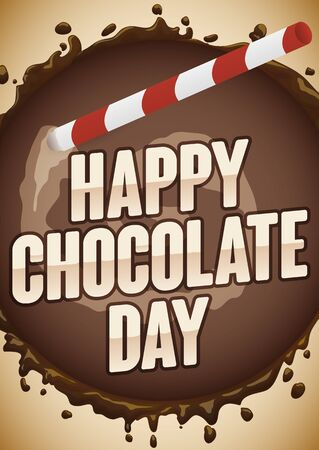 Poster in top view of a cup with delicious cocoa beverage and straw for Chocolate Day celebration.