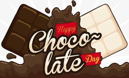 Banner with white and dark bars colliding over liquid cocoa beverage to celebrate Chocolate Day.