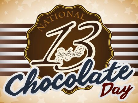 Promotional poster with starry background, delicious label and stripped ribbon made out of black chocolate to celebrate American National Chocolate Day.