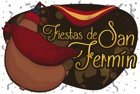 Canteen or 'bota bag' with a kerchief around it, golden sign with greeting message, bull silhouette and Spain flag under a confetti shower to celebrate San Fermin Festival (written in Spanish). Stock Illustratie