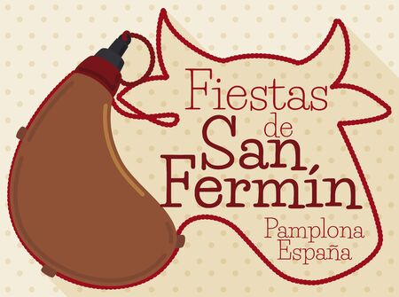 Commemorative design in flat style with traditional leather canteen -or bota bag- with a long cord forming a bull head to commemorate the San Fermin Festival (written in Spanish).