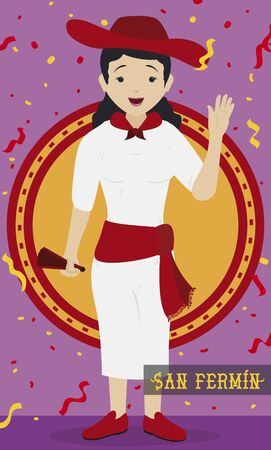Flat design with happy Spaniard woman wearing traditional attire: white clothes, red sash, kerchief and hat, holding a hand fan under a confetti shower for the Spanish San Fermin Festival celebration.