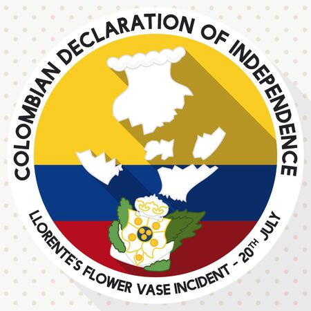 Round button in flat style with long shadow effect and shattered Llorente's Vase for Colombian Independence Day in July 20.