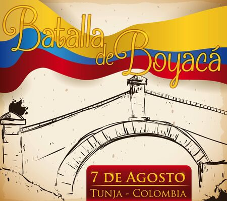 Poster with the Bridge of Boyaca in hand drawn style and waving Colombian flag to commemorate the Boyaca Battle event (written in Spanish). 向量圖像