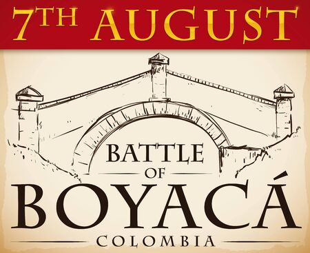 Postcard with Boyaca's Bridge view in hand drawn style over scroll to commemorate the Battle of Boyaca.