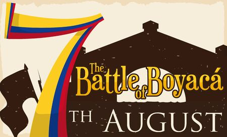 Poster with silhouette of Boyaca's Bridge, waving flag and a giant number seven with Colombian colors, reminding at you to commemorate the Battle of Boyaca.