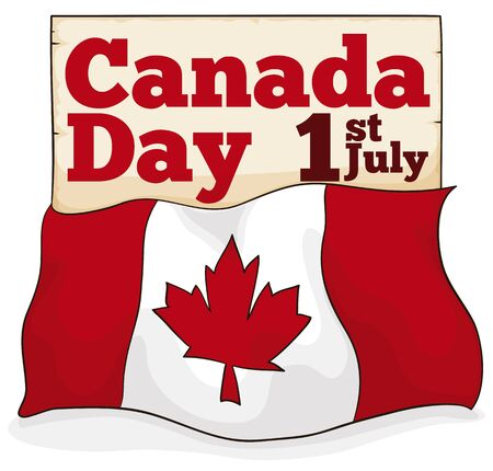 Canadian flag covering a scroll, reminding you the Constitution Act to commemorate Canada Day in July 1.