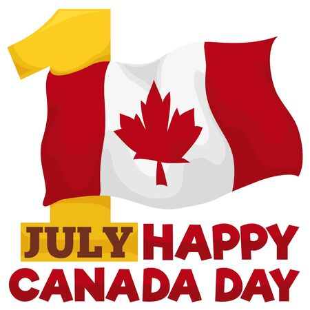 Poster with a golden number one with a waving Canadian flag, reminding you the date for Canada Day: July 1. Çizim