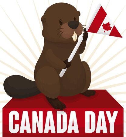 Commemorative poster for Canada Day with cute beaver holding a pennant decorated like Canadian flag.