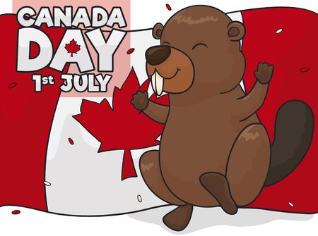 Tender beaver celebrating with confetti over a waving flag in Canada Day this 1st July. 向量圖像