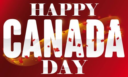 Banner with magic waves, glows and maple leaves over silver greeting text and red background to celebrate Canada Day.