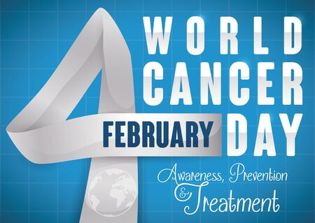 Commemorative design with ribbon like number four remembering the day for World Cancer Day with greeting message and blue background.