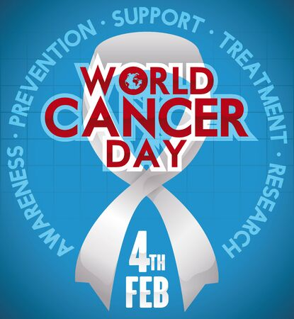 Poster with white ribbon and some precepts around it commemorating World Cancer Day reminding you the importance to fight against this disease.