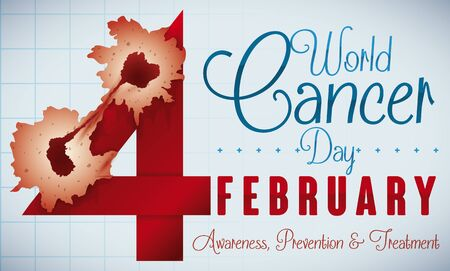 Banner with reminder date of World Cancer Day in February with carcinogenic cells over the number four, reminding you the awareness and importance of treatment of this disease. Illustration