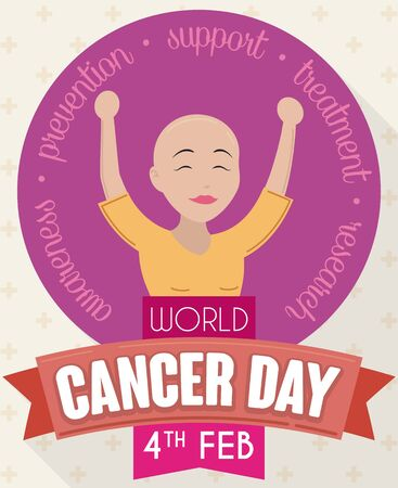 Poster in flat style for World Cancer Day with happy woman in treatment celebrating that she beat this disease and is full of life.