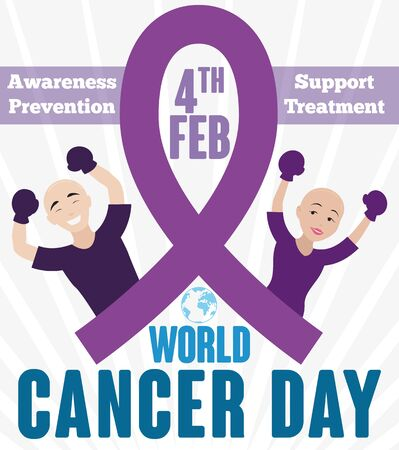 Poster in flat style with brave couple with fighting gloves and that they are victorious, commemorating World Cancer Day.