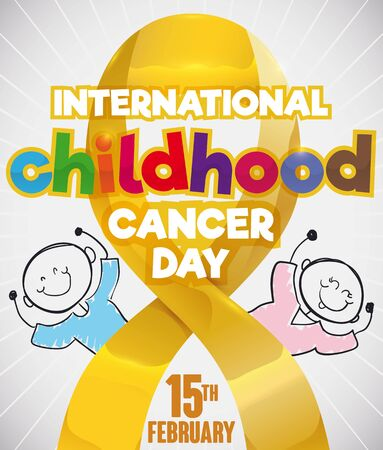 Poster with a couple of cute children in doodle style behind a golden lace remembering at you the importance in prevention and fight in the International Childhood Cancer Day in February 15. Ilustração