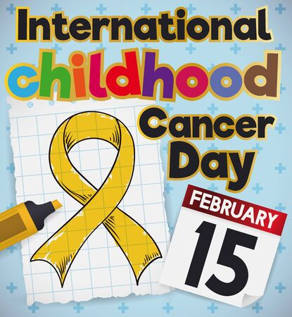 Poster with a cute childish doodle drawing of a ribbon in a notebook paper colored with a maker and a reminder date of International Childhood Cancer Day celebration. Ilustração Vetorial