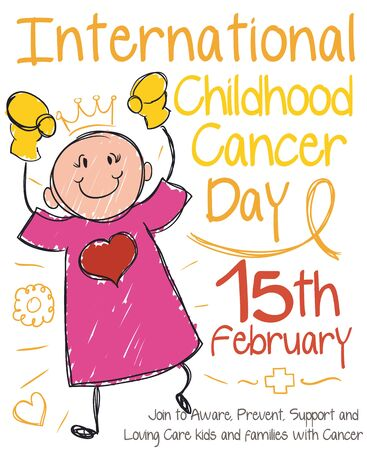 Poster for International Childhood Cancer Day with little girl winning the final match against this disease.