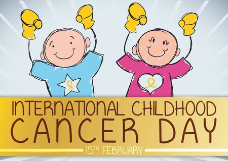 Commemorative banner for International Childhood Cancer Day with brave boy and girl in doodle style celebrating their victory against this disease behind a golden label.