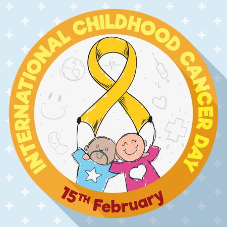 Commemorative design in flat style with round button with cute couple of children holding a golden ribbon: symbol of the fight against Childhood Cancer and commemorating its day in February 15. Ilustração