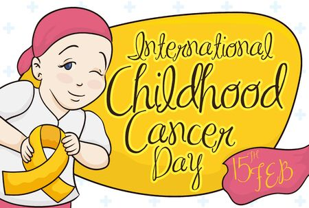 Commemorative design for International Childhood Cancer Day Celebration with cute girl winking at you and holding a golden ribbon, symbol of the fight against this disease. Ilustração