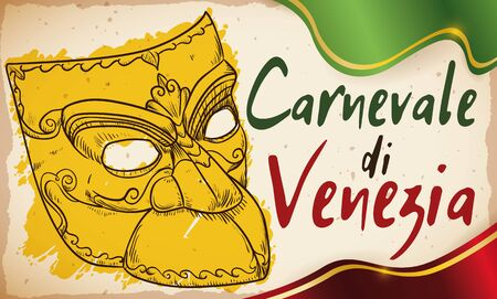 Commemorative banner in scroll with bauta mask in hand drawn style to commemorate the 'Carnevale di Venezia' (translate from Italian: Venice's Carnival). 矢量图像