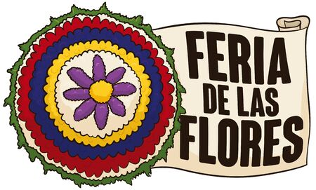 Banner with flower wheel for Silleteros' parade with Colombia patriotic colors and greeting scroll for Festival of the Flowers (written in Spanish).