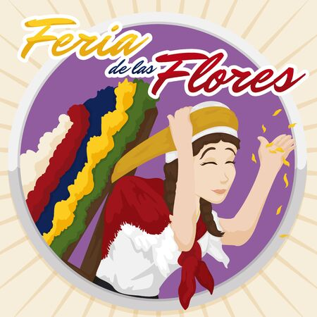 Poster with beautiful female Silletero saluting at you and leaving petals in a rounded button, celebrating Flower Festival (written in Spanish).