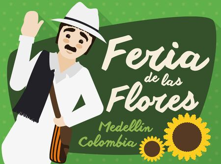 Poster with traditional arriero character in flat style and long shadow saluting at you with sunflowers in Colombian Festival of the Flowers (written in Spanish).