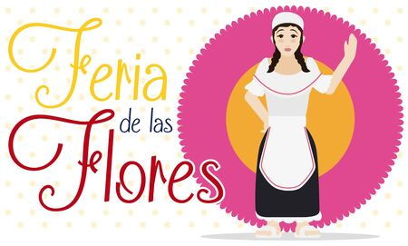 Banner with paisa woman in traditional clothes saluting at you over flower in flat style for Colombian Festival of the Flowers (written in Spanish). 向量圖像
