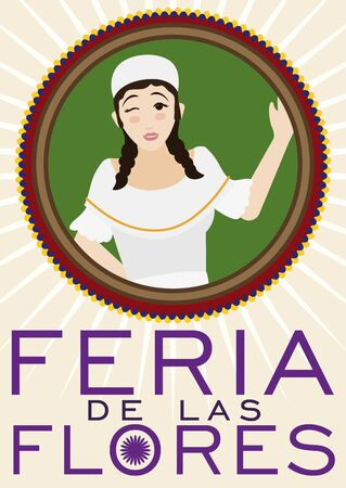 Round button in flat style with female paisa girl winking and saluting at you in Colombian Festival of the Flowers (written in Spanish). 向量圖像
