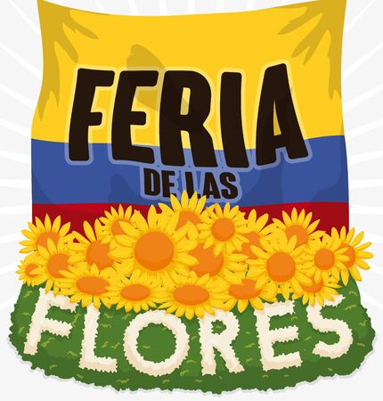 Poster with Colombian flag and beautiful floral arrangement and yellow daisies for Colombian Festival of the Flowers (written in Spanish).