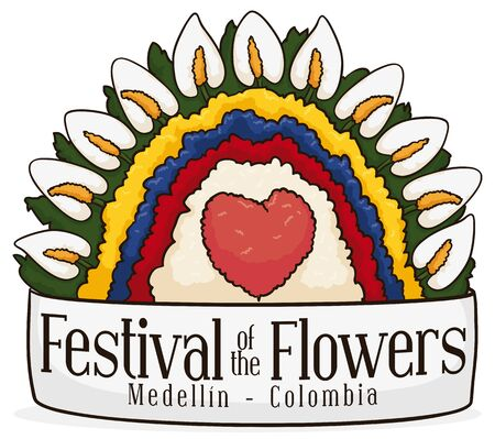 Poster with beautiful anthuriums and floral arrangement with Colombian flag colors behind a greeting ribbon celebrating Colombian Festival of the Flowers.