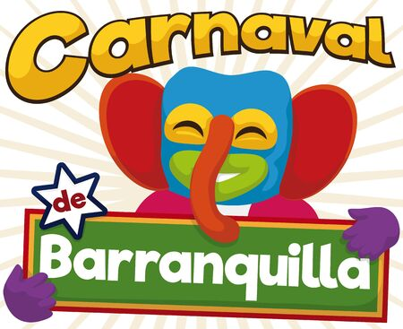 Cartoon poster for Barranquilla's Carnival (written in Spanish) with happy marimonda (traditional Colombian character for this holidays) who enjoy the parade. Vektorové ilustrace