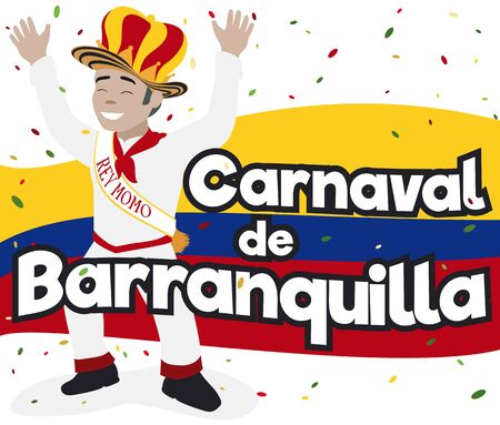 Poster with smiling Momo King celebrating the Barranquilla's Carnival (written in Spanish) over the Colombian flag and confetti.