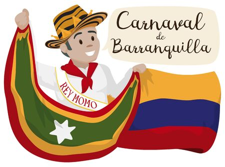 Poster with smiling Momo King holding the Barranquilla and Colombia flag in the celebration of the Barranquilla's Carnival (written in Spanish in the speech bubble).